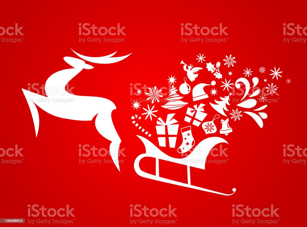Christmas flying sledge harnessed by magic deer royalty-free stock vector art