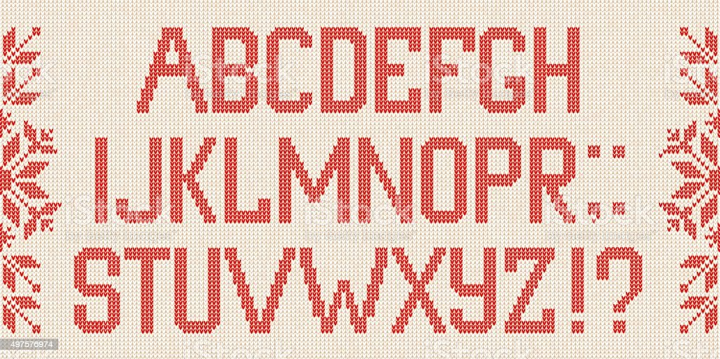 Christmas Font: Scandinavian style  knitted letters and pattern. vector art illustration