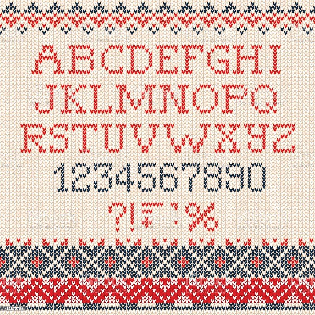 Christmas Font: Scandinavian Style Seamless Knitted Ornament Pat  Royaltyfree Stock Vector Art