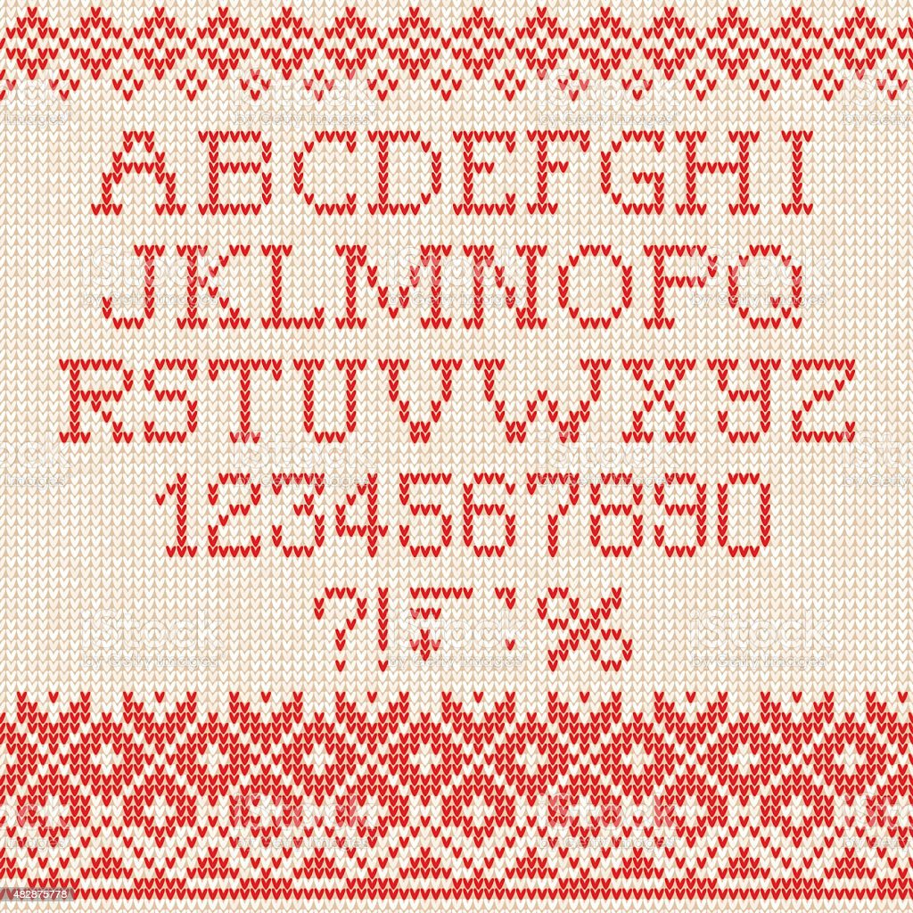 Christmas Font: Scandinavian style seamless knitted ornament pat vector art illustration