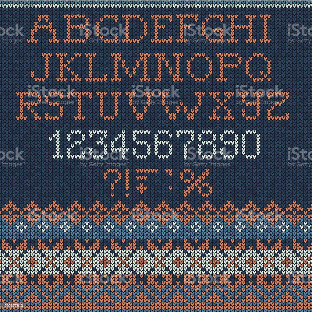 Christmas Font: Scandinavian style seamless knitted vector art illustration