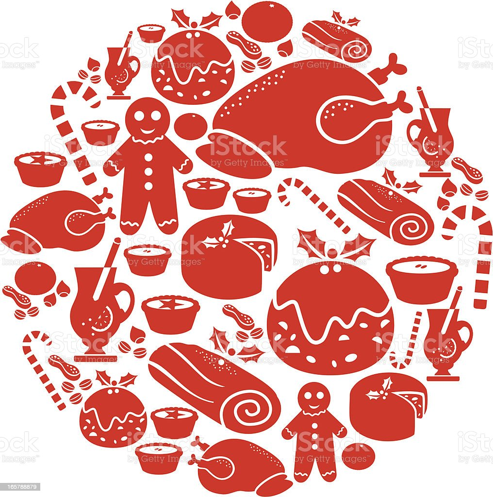 Christmas Food Icon Montage royalty-free stock vector art