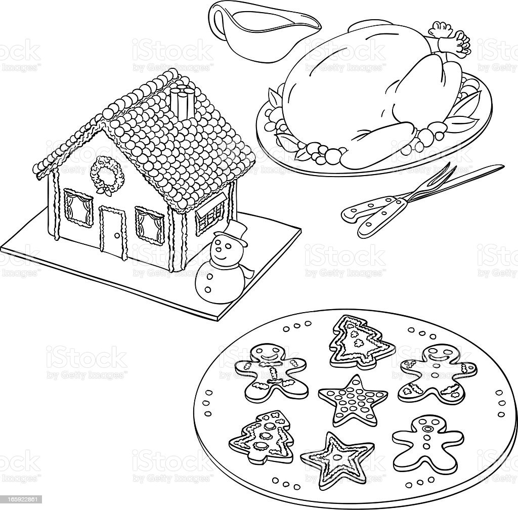 Christmas food in black and white vector art illustration