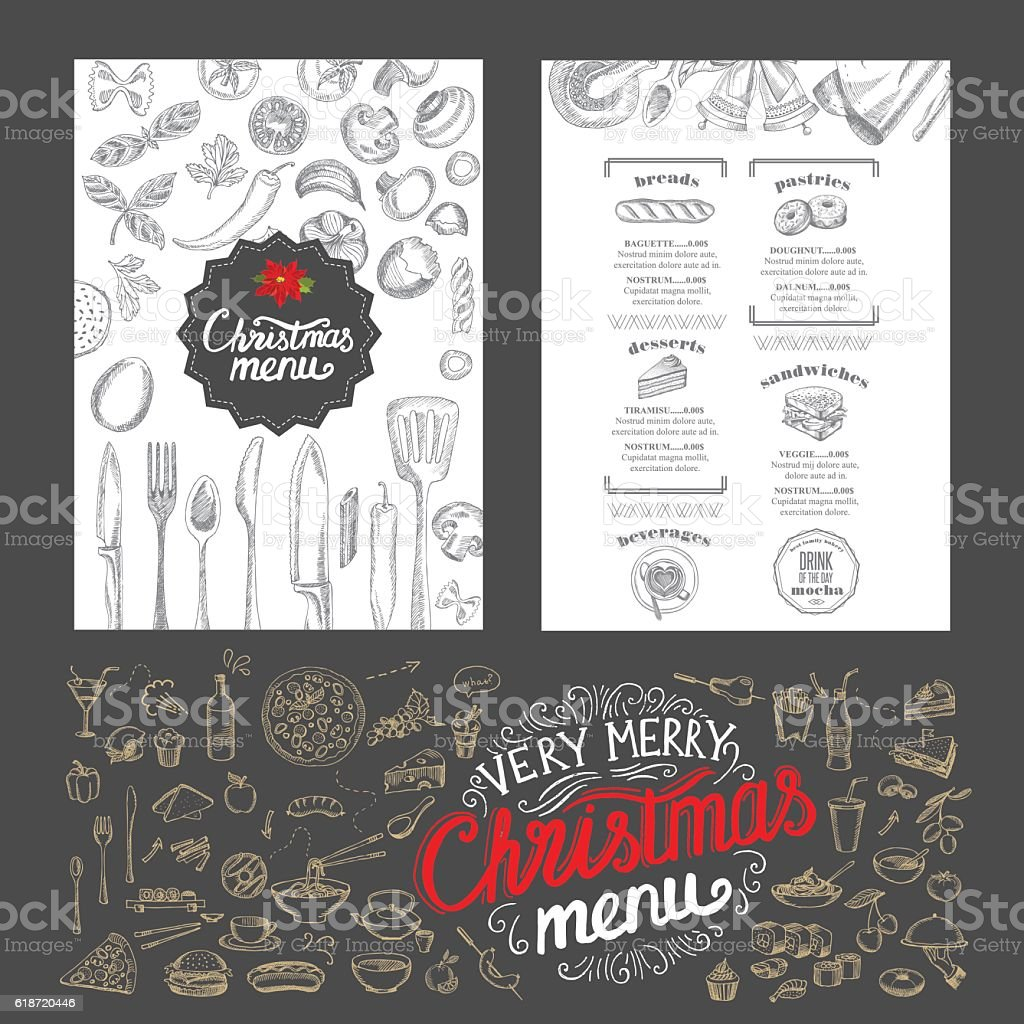 Christmas food menu. Happy new year party invitation restaurant. vector art illustration