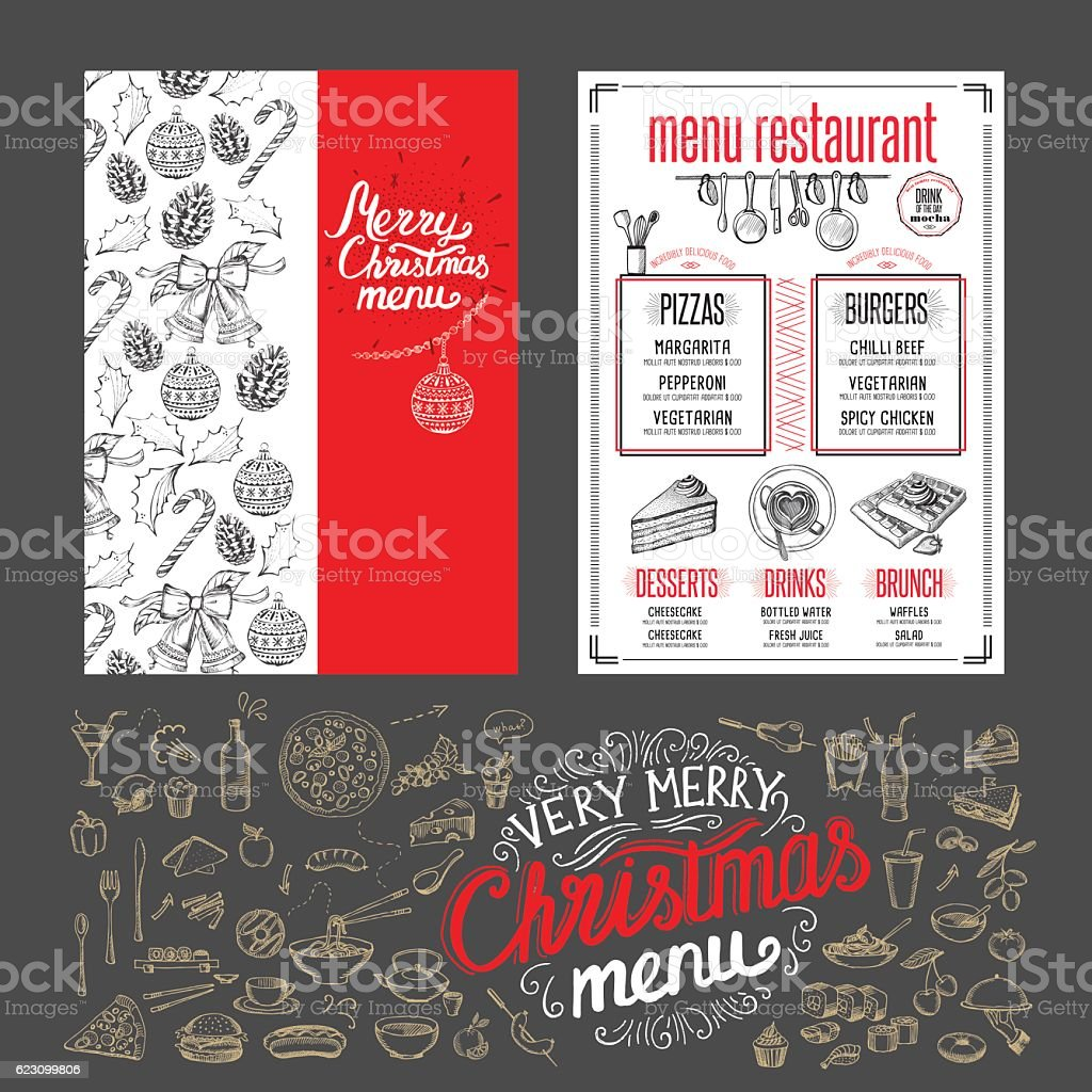 Christmas food menu. Happy new year party invitation restaurant. vector art illustration