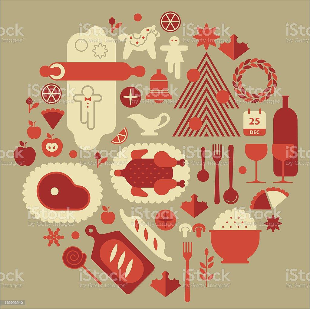 Christmas food vector art illustration
