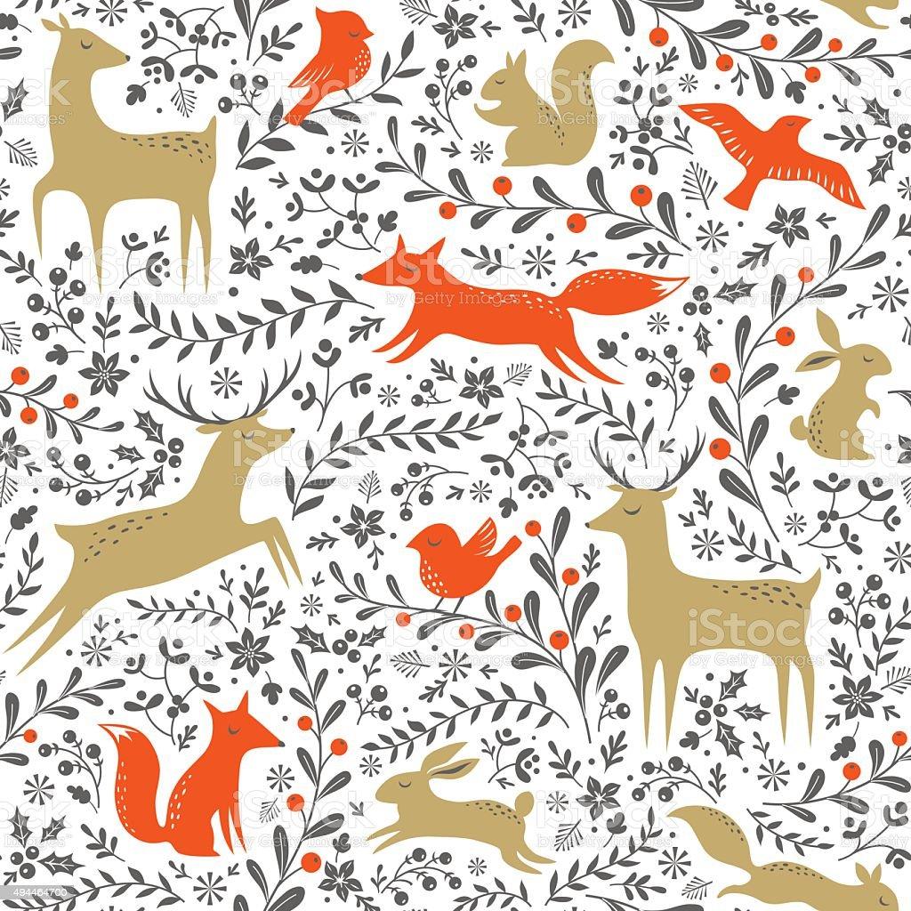 Christmas forest pattern vector art illustration
