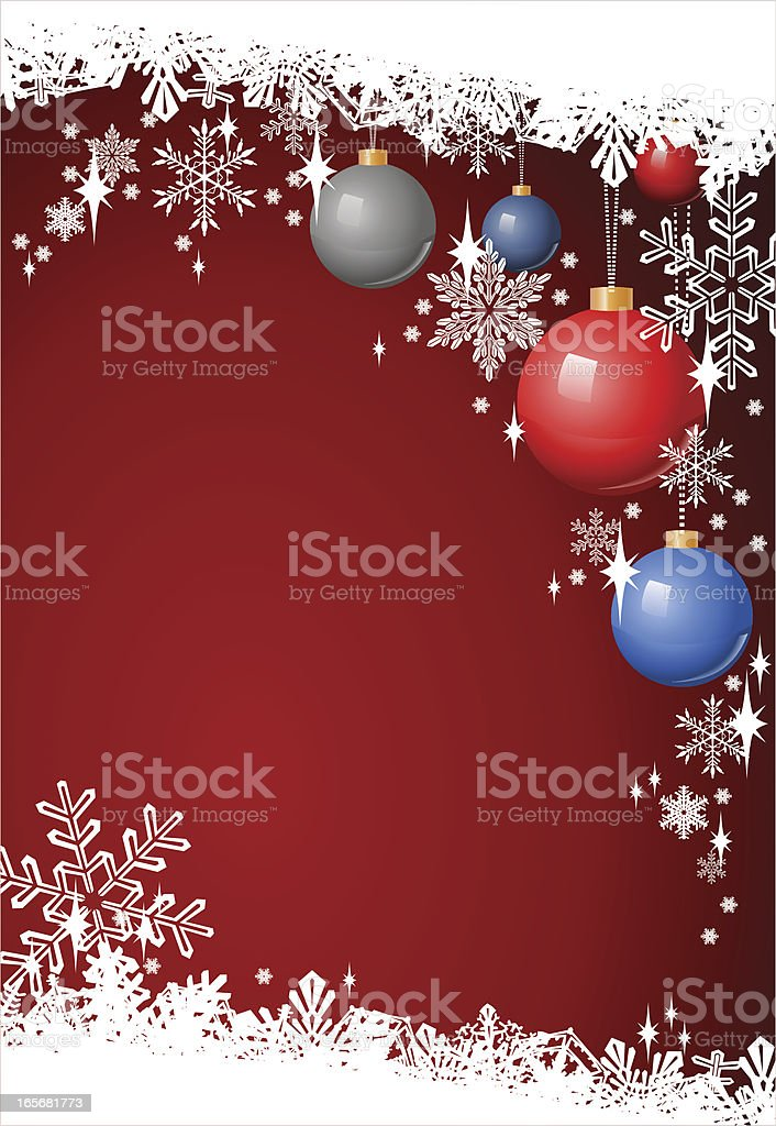 Christmas Frame Background with Ornaments and Baubles royalty-free stock vector art