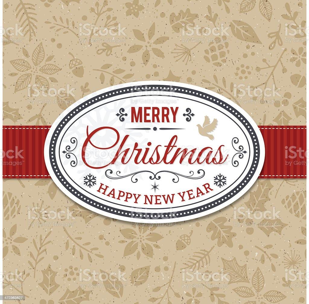 Christmas Frame Over Seamless Pattern vector art illustration