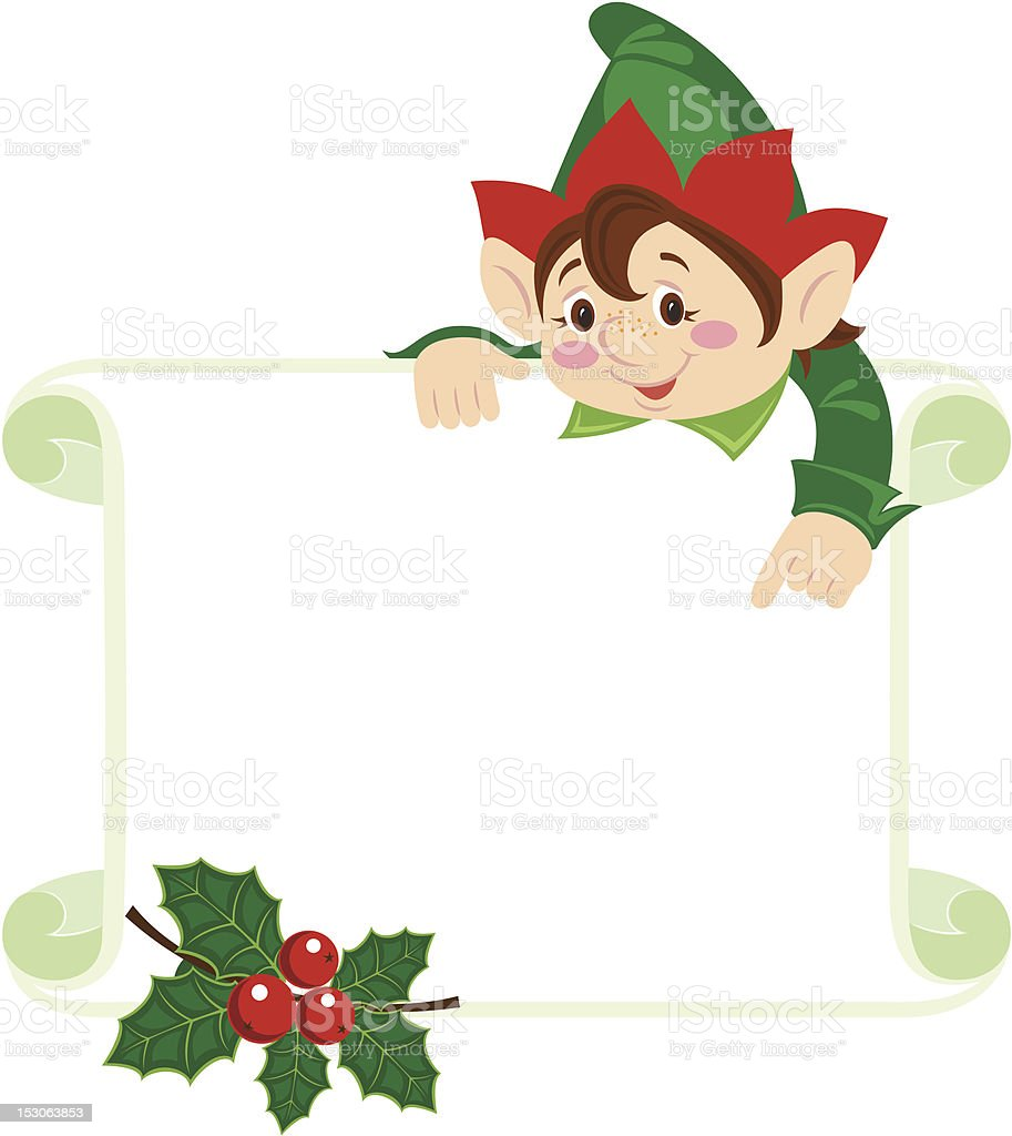 Christmas Frame With Elf On Top Pointing To The Frame stock vector