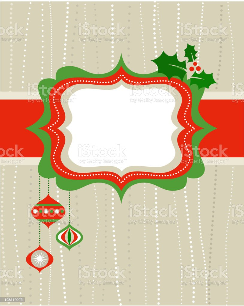 Christmas frame with holy leaves royalty-free stock vector art