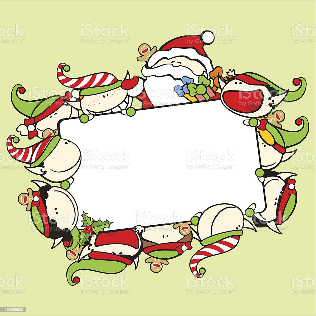 Christmas frame with Santa Claus and elves royalty-free stock vector art