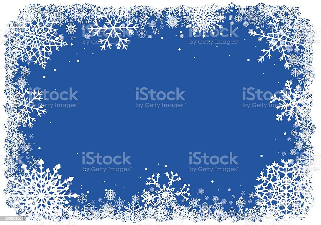 Christmas frame with snowflakes over blue background vector art illustration