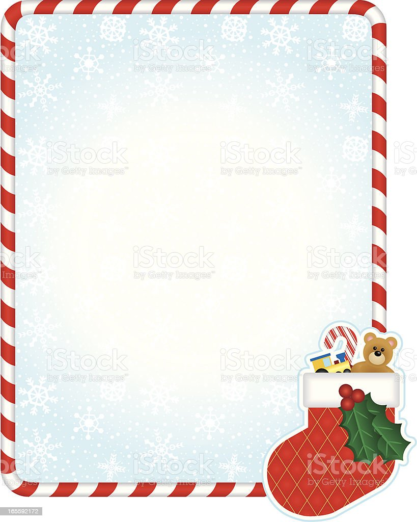 Christmas frame with stocking royalty-free stock vector art