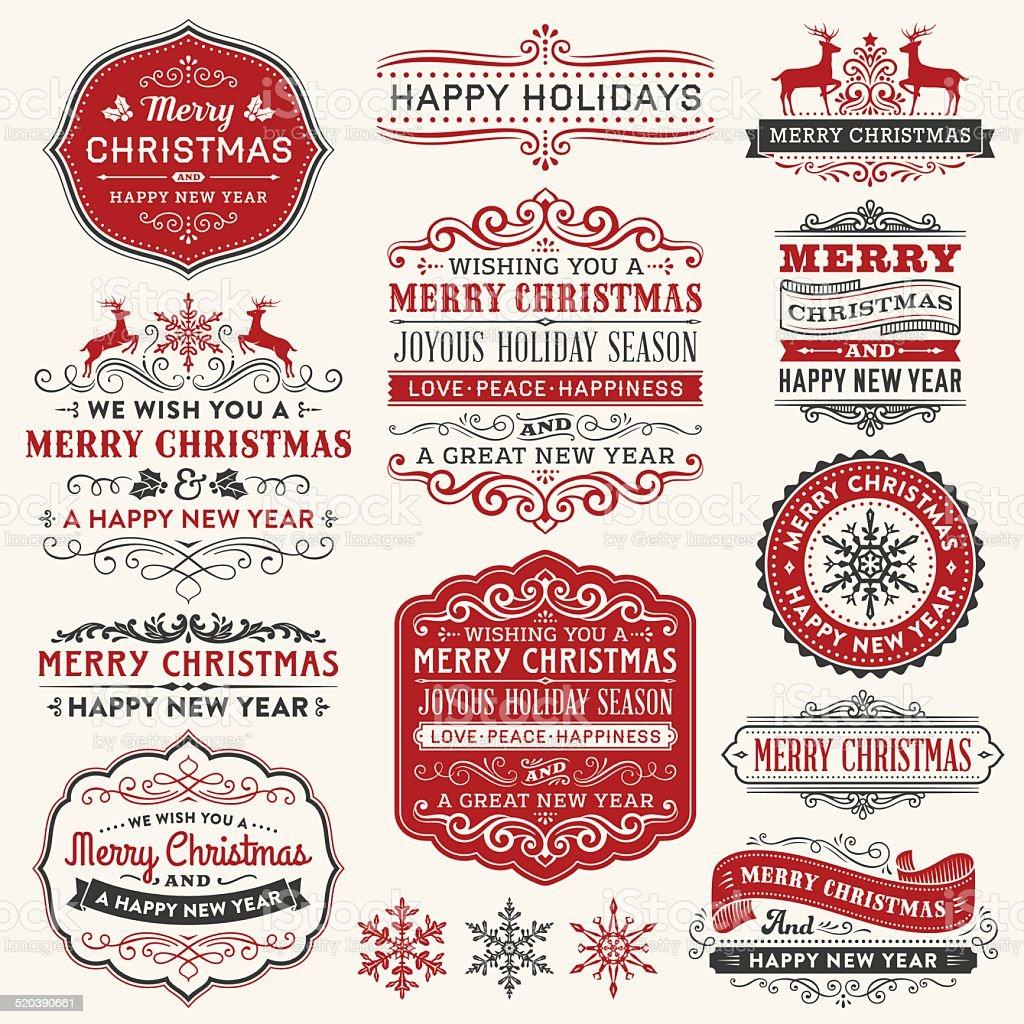 Christmas Frames,Labels and Badges vector art illustration