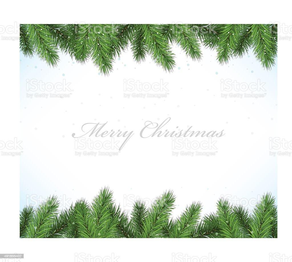 Christmas framework with fir tree vector art illustration