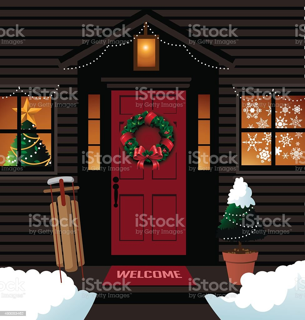 Christmas front door with sleigh wreath and tree vector art illustration