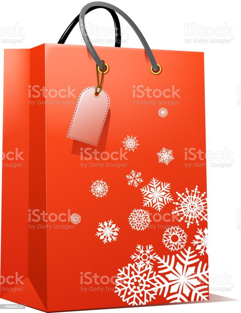 christmas gift bag vector art illustration