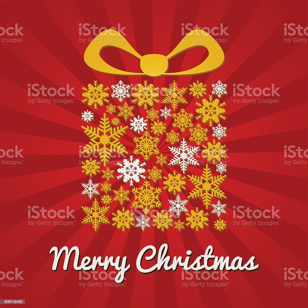 Christmas gift box golden on red rays background with stars vector art illustration