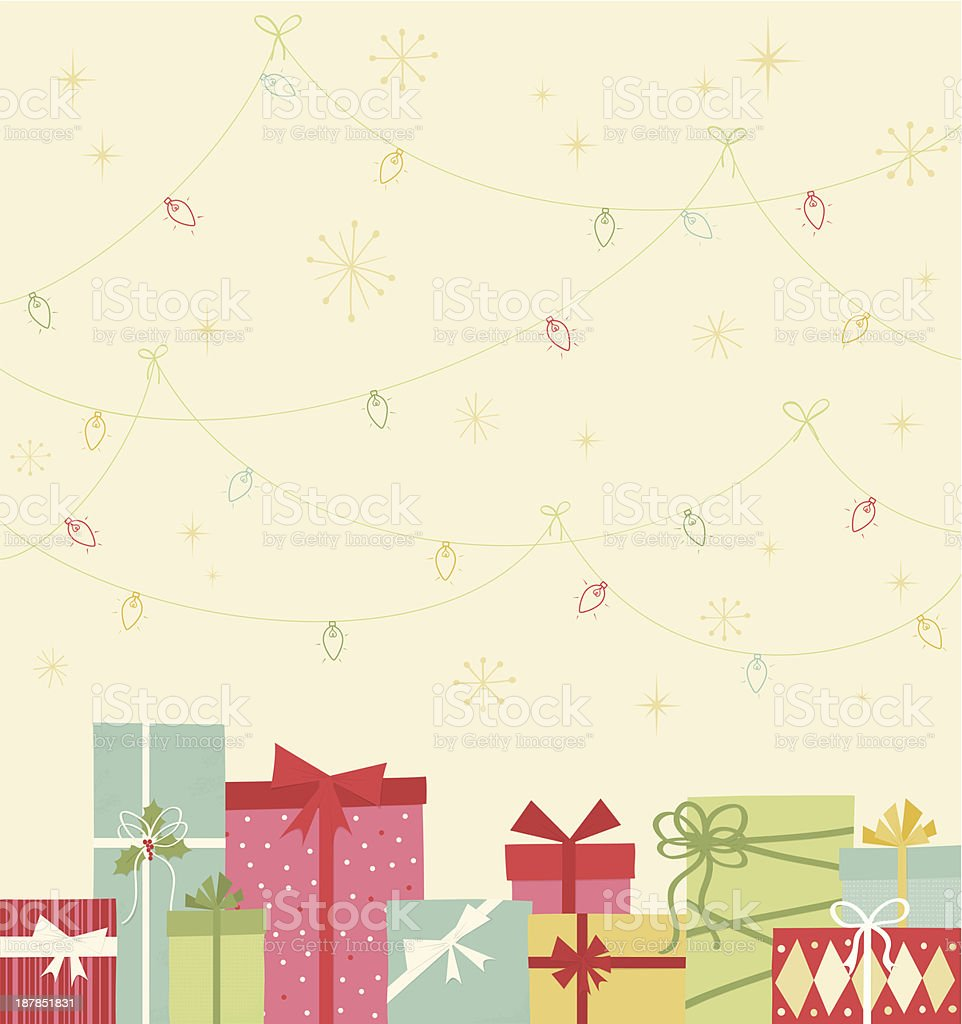 Christmas gift boxes and lights vector art illustration