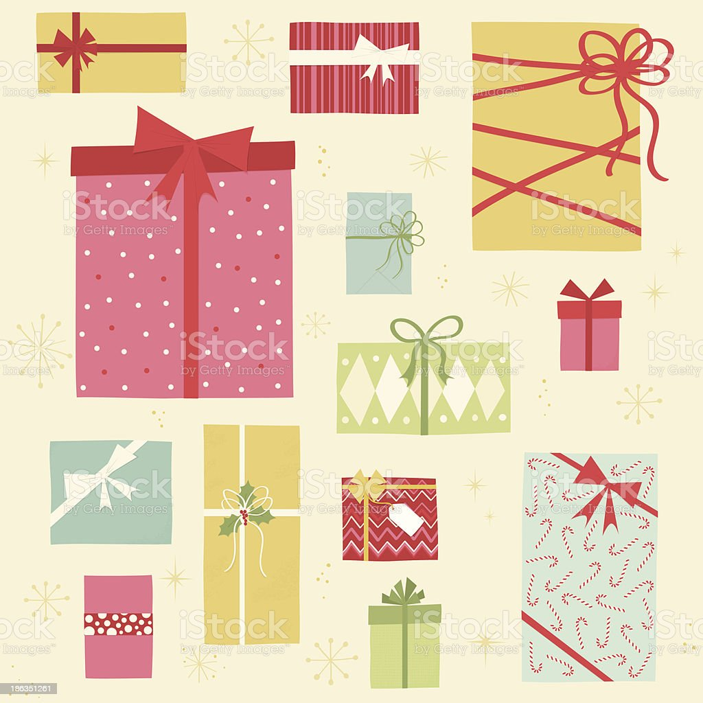 Christmas gift boxes vector art illustration