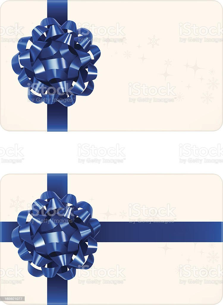 Christmas gift card that's decorated by blue ribbon vector art illustration