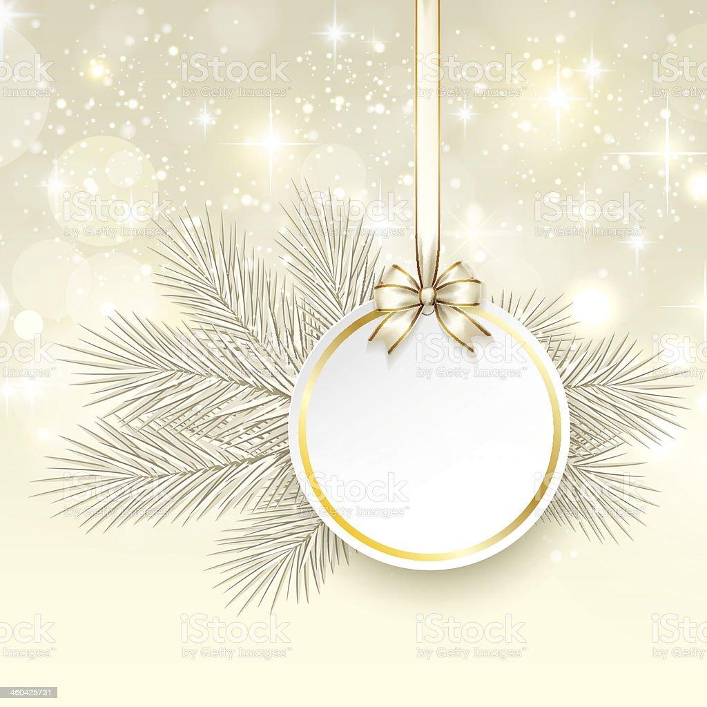 Cartão de presente de natal com fita e arco de cetim vetor e ilustração royalty-free royalty-free
