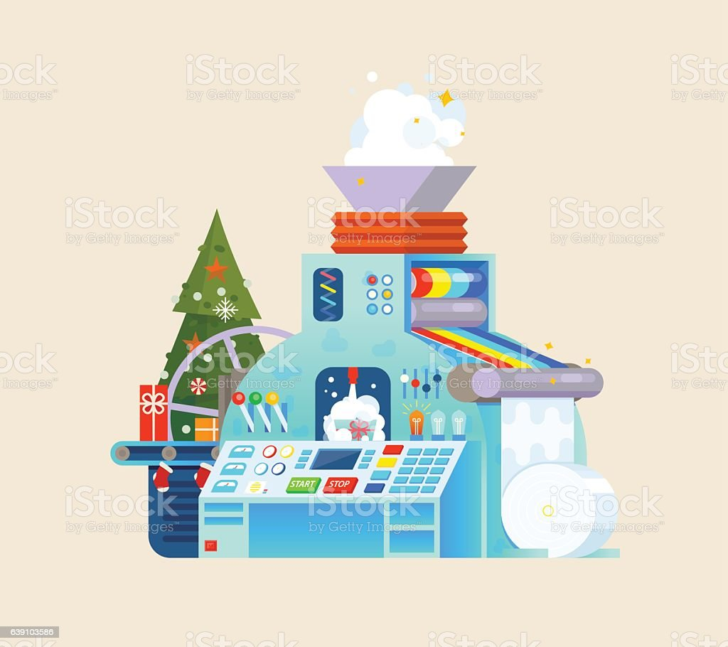 Christmas gift factory. Holiday Machine process in isometric style. vector art illustration