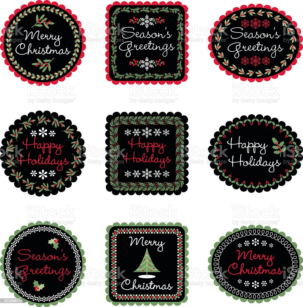 christmas gift labels vector art illustration