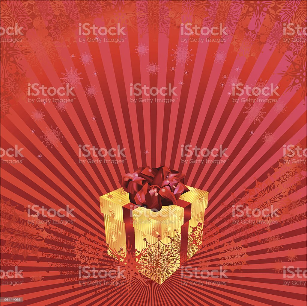Christmas gift on red background royalty-free stock vector art