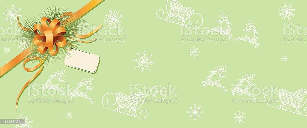 Christmas Gift & Ribbon Banner vector art illustration