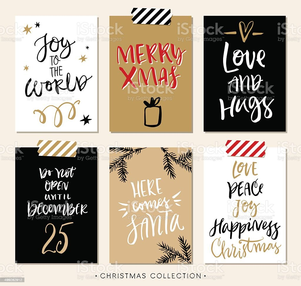 Christmas gift tags and cards with calligraphy. vector art illustration