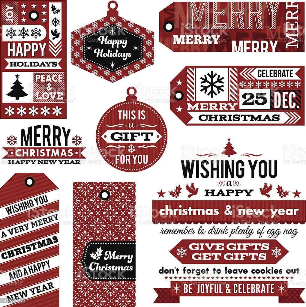 Christmas Gift Tags and Designs royalty-free stock vector art
