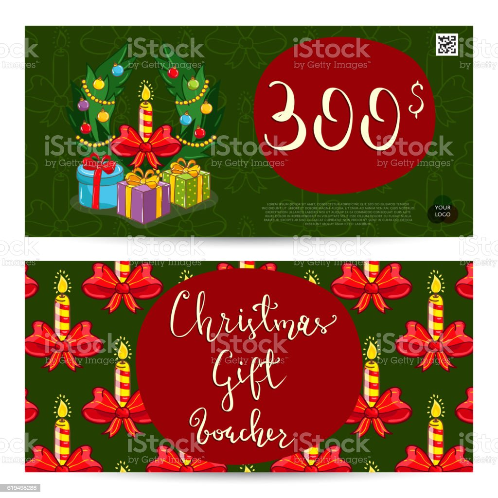 Christmas Gift Voucher With Prepaid Sum Template stock vector art – Free Christmas Voucher Template