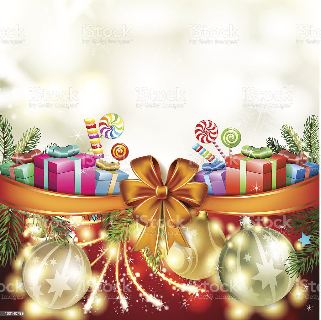 Christmas gift with bow royalty-free stock vector art
