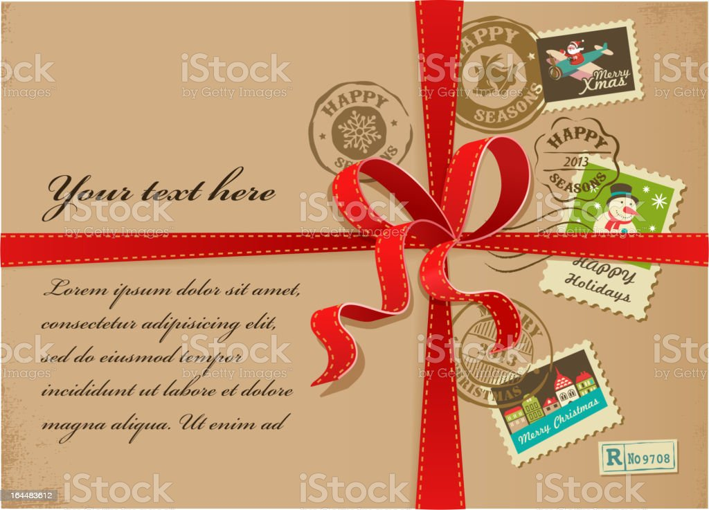 Christmas gift with red ribbon and vintage postage stamps royalty-free stock vector art