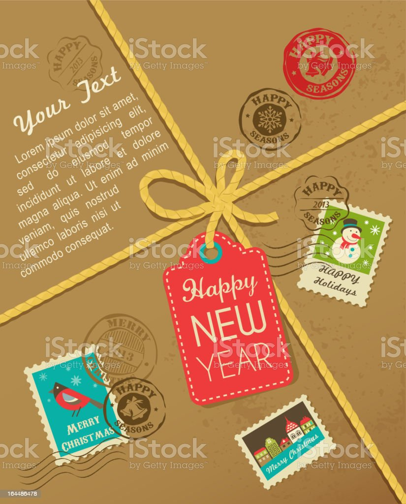 Christmas gift with vintage postage stamps vector art illustration