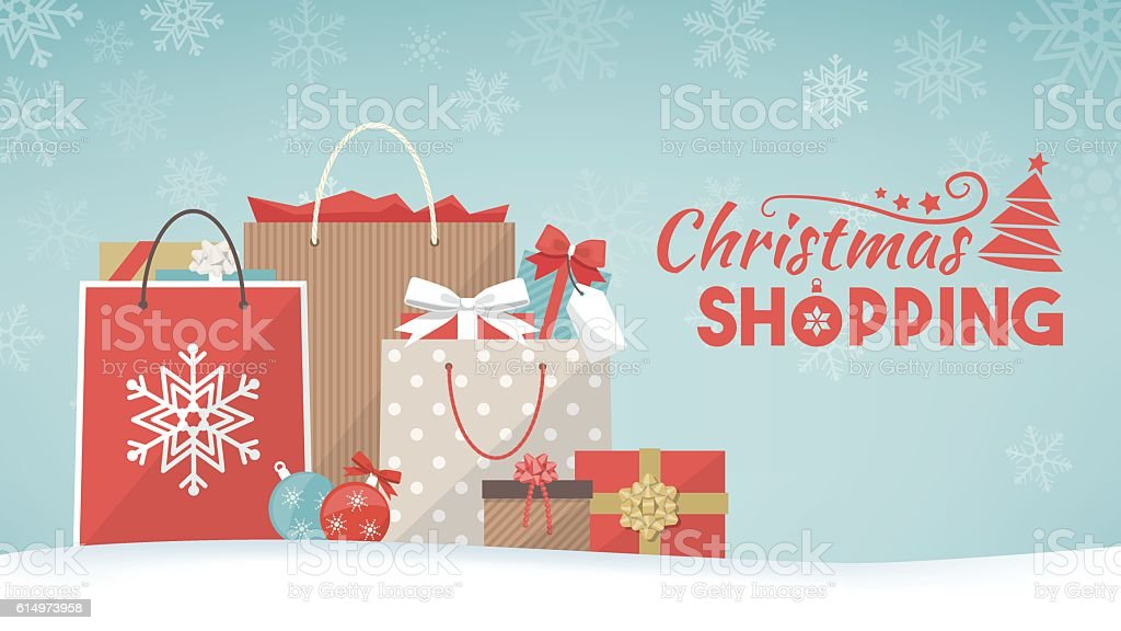 Christmas gifts and shopping bags vector art illustration