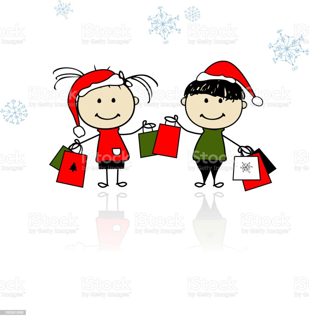 Christmas gifts. Children with shopping bags royalty-free stock vector art