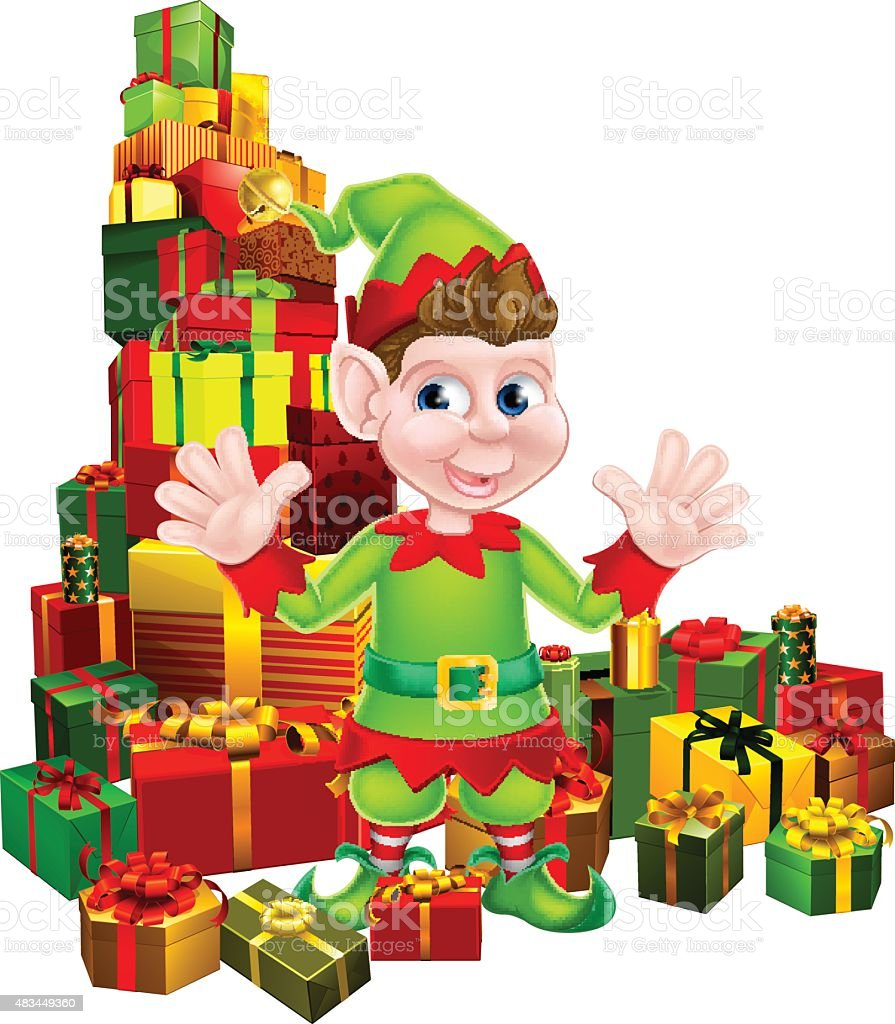 Christmas Gifts Elf vector art illustration