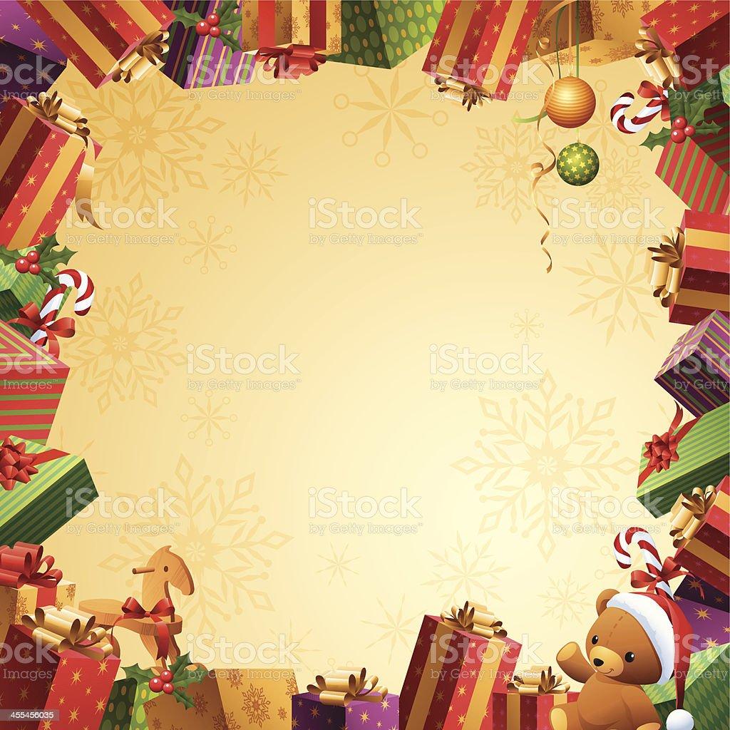 Christmas Gifts - Frame vector art illustration
