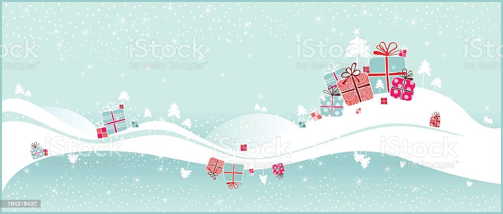 Christmas gifts on the snow royalty-free stock vector art