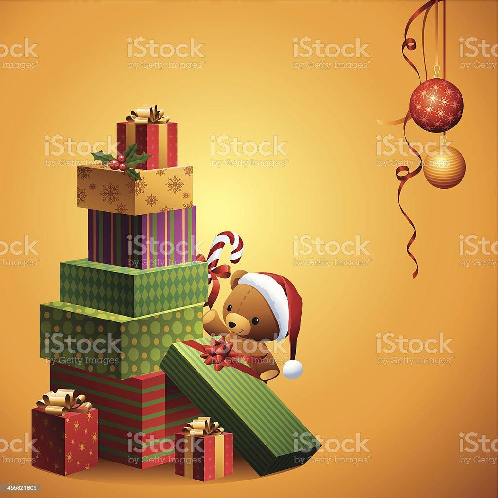 Christmas Gifts - Santa Teddy vector art illustration
