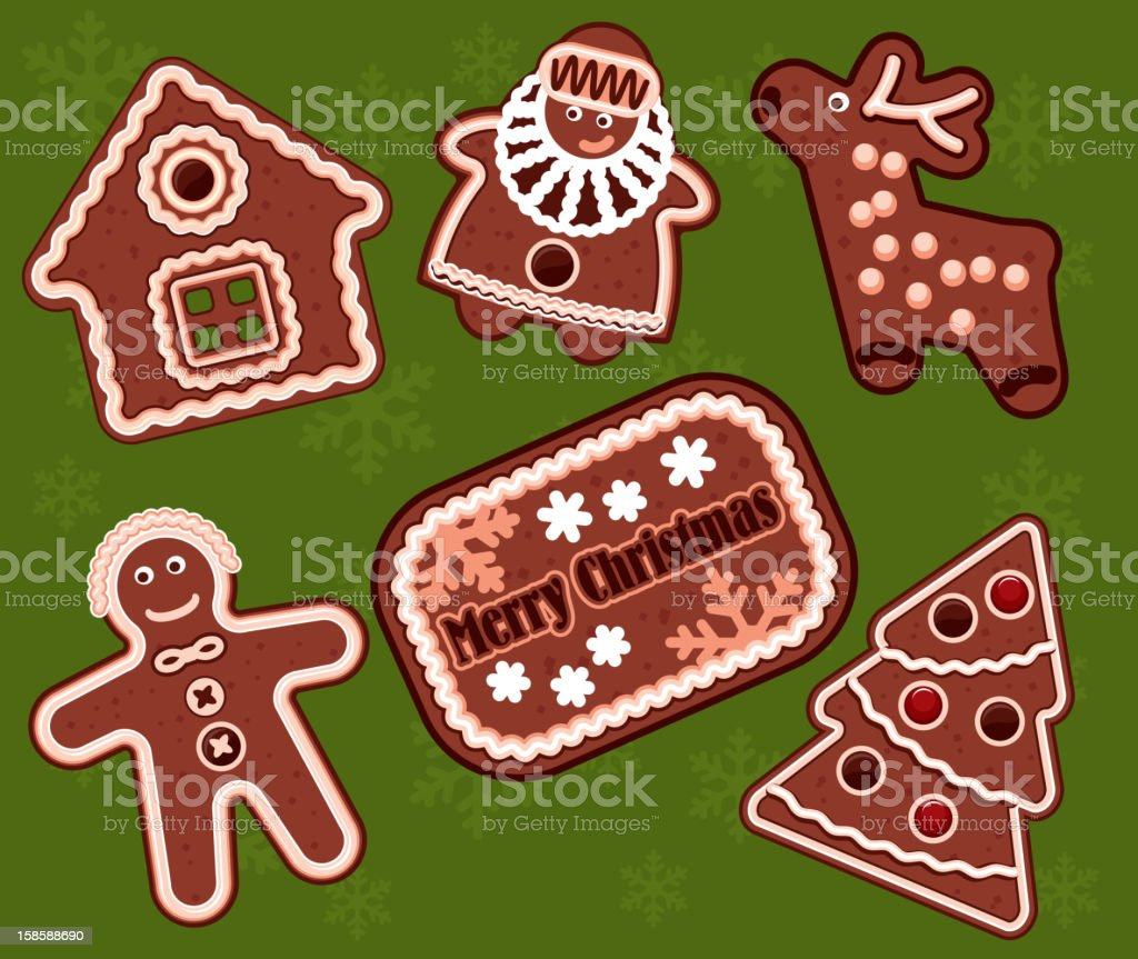 Christmas gingerbread cookies vector art illustration