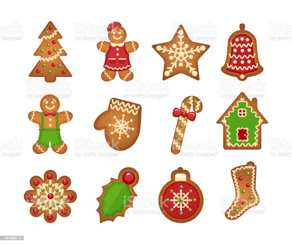Christmas gingerbread cookies vector art illustration