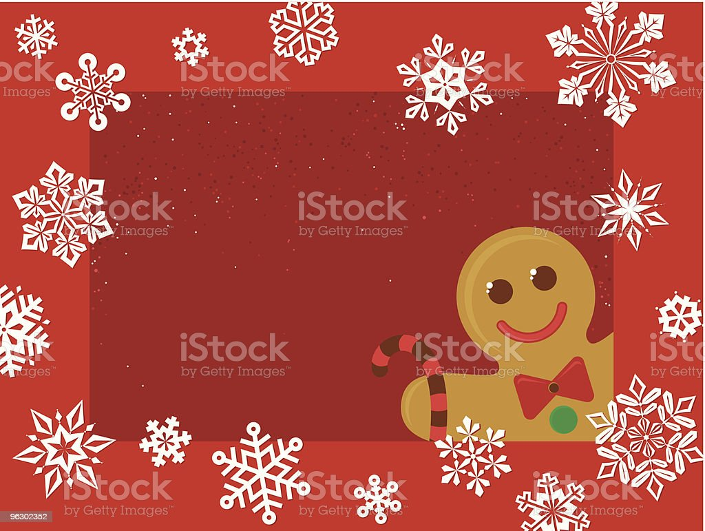 Christmas Gingerbread Man Snowflakes vector art illustration