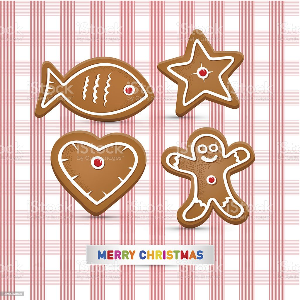 Christmas Gingerbread on Pink Tablecloath vector art illustration