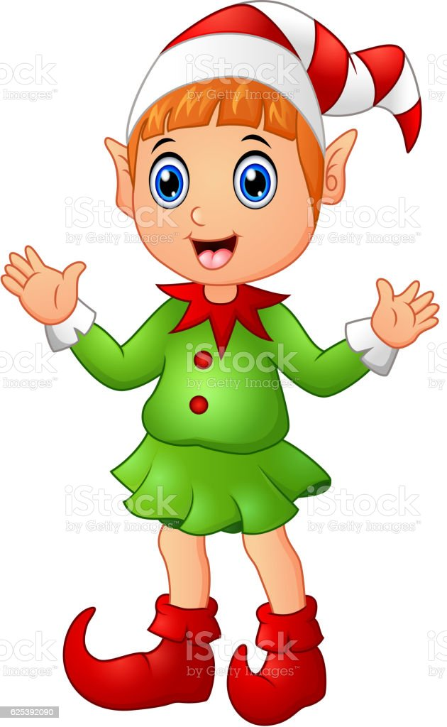 Christmas girl elf character waving hands vector art illustration