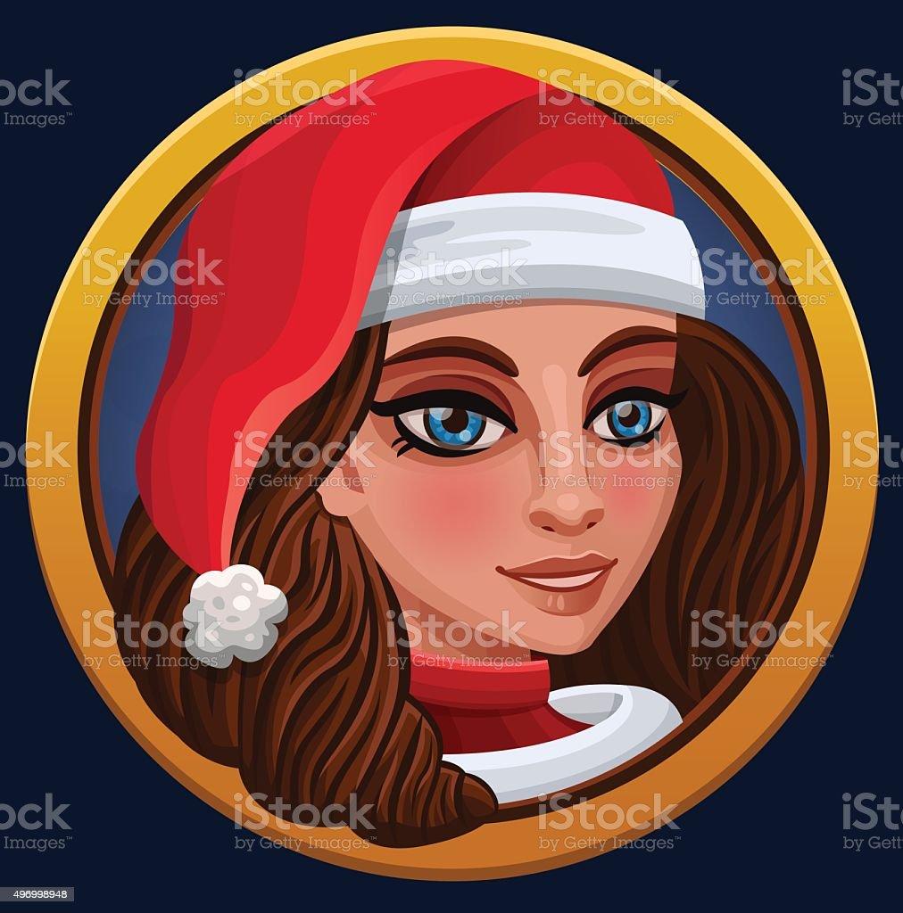 Девочка значок Рождество векторная иллюстрация