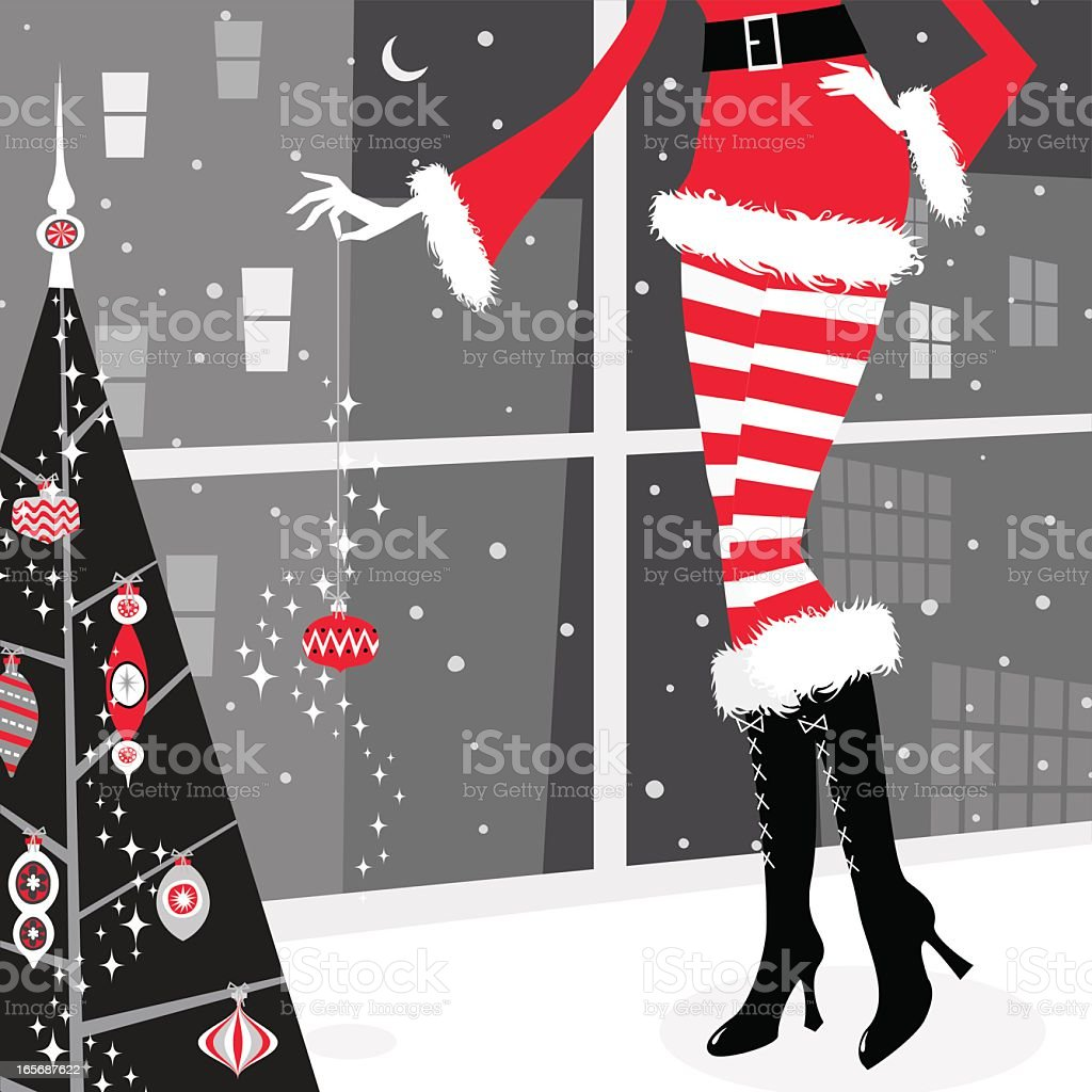 Christmas girl vector art illustration